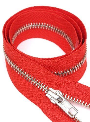 УКК молния металлическая разъемная с одним бегунком | Цвет: Серебро | Звено: 5 мм | Длина: 65 см | Тесьма: Красная