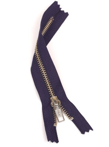 УКК молния металлическая неразъёмная Карманка | Цвет: Серебро | Звено: 5 мм | Длина: 16 см | Тесьма: Синяя