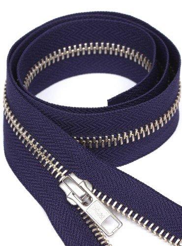 УКК молния металлическая разъемная с одним бегунком | Цвет: Серебро | Звено: 5 мм | Длина: 65 см | Тесьма: Синяя
