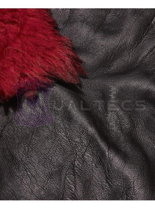 Мех дубленочный Тоскана Prada | Цвет: Черный | Цвет меха: Красный