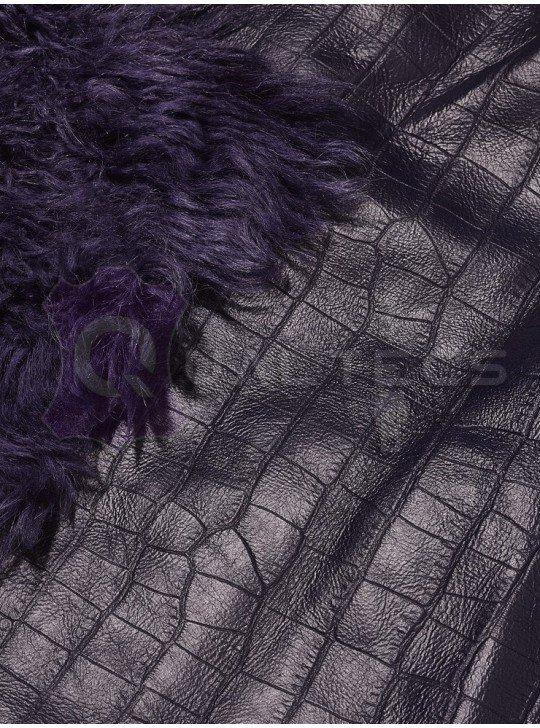 Мех дубленочный Тоскана Mongolia (Curly) | Цвет: Фиолетовый Кроко