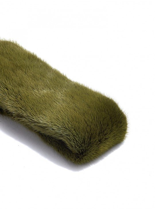 Мех Норки | Норка крашенная зеленая (оливка)