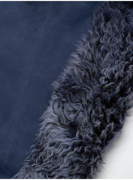 Мех дубленочный Тоскана Mongolia (Curly) | Цвет: Синий