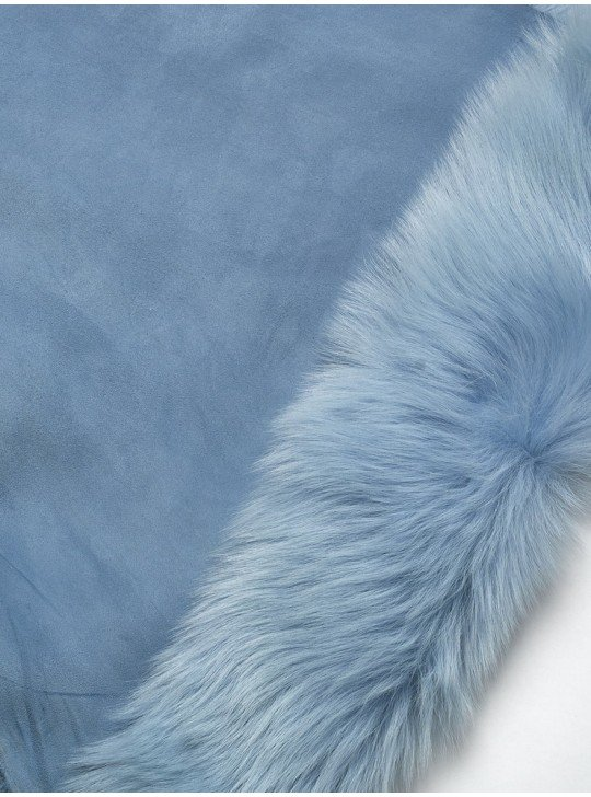 Tanned material fur for sheepskin coats Tuscany  | Color: blue