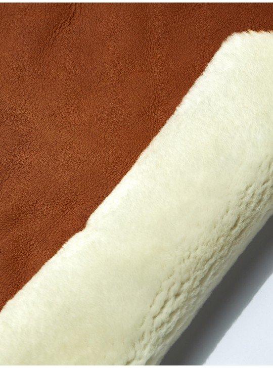 Мех дубленочный овчина мерино   рыжий напалан (пропитка) - белый мех