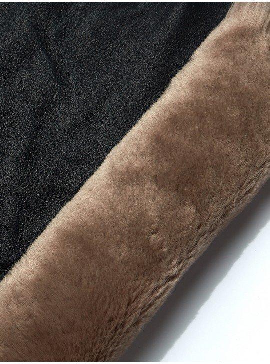 Мех дубленочный овчина мерино | синий матовый напаллан(пропитка) - бежевый мех