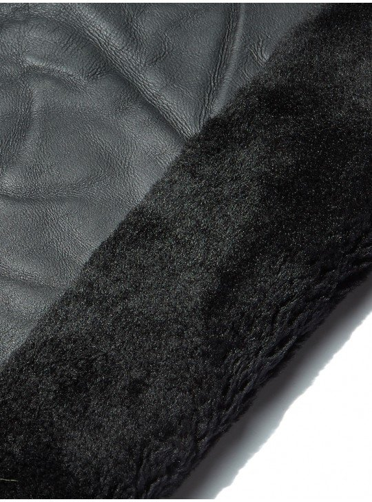 Tanned material fur for sheepskin coats Sheepskin | Color: black
