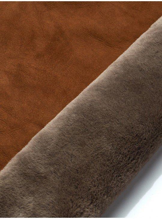 Мех дубленочный овчина мерино |коричневый велюр - бежевый мех